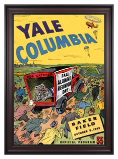 1949 Columbia Lions vs Yale Bulldogs 36x48 Framed Canvas Historic Football Poster