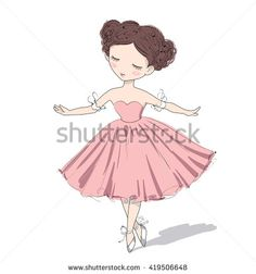 Vector Illustration Of A Cute Ballerina Girl, Who Is Dancing With Inspiration…