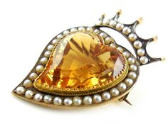 Antique Victorian British 15k Gold 9 CT Citrine Irish Heart Crown Pendant Or Pin. Find more antique and vintage jewelry by visiting us at Regalities.com, or you can click on the following link to view this specific item: http://regalities.com/product/antique-victorian-british-commonwealth-14k-15k-gold-9-carats-citrine-pearl-wrap-irish-heart-crown-pendant-or-pin/