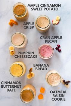 Enjoy these 7 easy make ahead smoothie recipes that are healthy, nutritious, and packed with Fall flavors. Make Ahead Smoothies, Smoothie Recipes For Kids, Breakfast Smoothie Recipes, Fruit Smoothies, Healthy Smoothies, Healthy Snacks, Healthy Recipes, Simple Smoothies, Protein Snacks