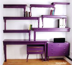 Storyteller by Interior Designer Isabel Quiroga. Nate Berkus demonstrated this on his show.  It would be a way to get quick, cheap, and stylish shelving.