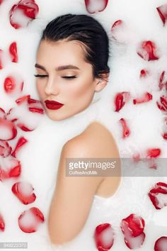 View top-quality stock photos of Portrait Of Beautiful Woman With Flowers In Bathtub. Find premium, high-resolution stock photography at Getty Images. Milk Bath Photography, Model Poses Photography, Creative Portrait Photography, Photography Women, Beauty Photography, Photography Cheat Sheets, Image Photography, Photoshoot Concept, Photoshoot Themes