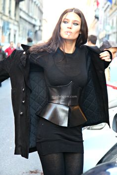 Wow she looks amazing in this black outfit loving emerge leather waist cincher x
