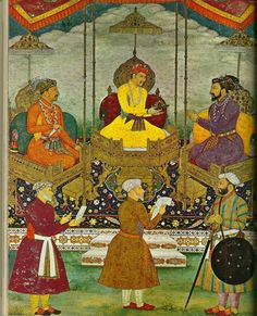 Miniature painting by Bitchitr from around 1630 - now at the Chester Beatty Library, Dublin. It depicts three of the most important emperors of the Mughal Period. Said to be the greatest of them all, Akbar is in the center, his son, Jahangir, is to his right, and his grandson, Shah Jahan, is to his left. The painting was commissioned by Shah Jahan, the builder of the Taj Mahal.