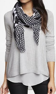 HOUNDSTOOTH FRAME LEOPARD PRINT SQUARE SCARF from EXPRESS