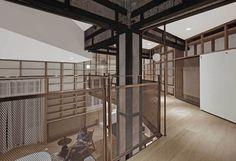 A Shanghai Apartment filled with bookshelves by Atelier TAO+C via An Interior Affair