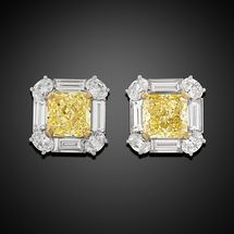 An extraordinary pair of Fancy Intense Yellow diamonds glow in these magnificent earrings. Weighing 6.13 total carats, the incredible diamonds exhibit a stunning yellow hue that is made all the more dazzling by their exquisite Modified Brilliant cut ~ Yellow Diamonds, Earrings ~ M.S. Rau Antiques