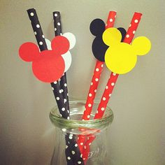 Mickey Mouse Paper Party Straws, set of 12 - great for Birthdays, Baby Showers - Eco-friendly. on Etsy, $10.25
