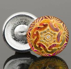 RETRO 18mm Vintage Czech Glass Art Deco BLUE AB Black Paisley Swirl Buttons 4pc