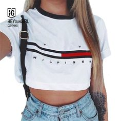 HEYounGIRL 2016 Novelty Sport Women t-shirt letters and Flag print short sleeve home tops freeshipping - Pandora Fashion