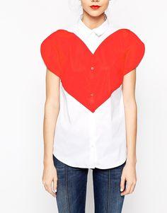 Image 3 ofLove Moschino Large Heart Short Sleeve Shirt