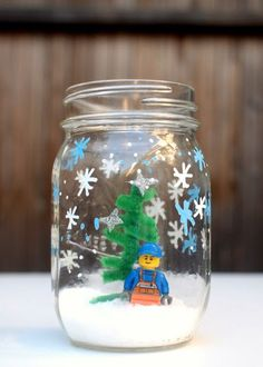 Lego Winter Snow Scene Jar Craft- Simple and easy kids craft for the holidays