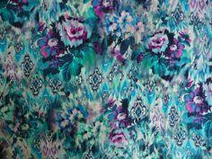 Viskose, Ornamente, Blau, Türkis, Blumen, Meterware, Stoff, Stoffe