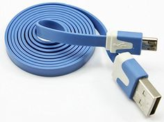 "myLife Cerulean Blue {Solid Flat Noodle Design} 6' Feet (1.8 Meter) Quick Charge USB 2.0 Micro USB to USB Data Sync Cord for Phones, Cameras, Tablets and GPS Devices ""SEE COMPATIBILITY"" (Durable Rubber Coat) myLife Brand Products http://www.amazon.com/dp/B00NYBL7L8/ref=cm_sw_r_pi_dp_Yl-tub03F1P2J"