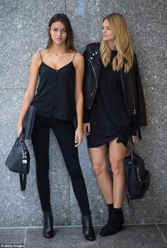 Model behaviour! Gabby Westbrook (L) and Nadine Leopold (R) perfected the off-duty look as...