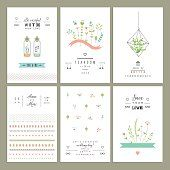 Hand drawn collection of romantic trendy invitations.