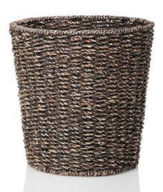 #manythings B&C #Homegoods #Woven Espresso Seagrass Waste Bin, Waste Paper Basket for Bedroom, Kitchen, Bathroom or Office - Woven Trash Can - Versatile wastebask...