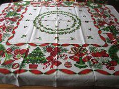 Vintage Christmas 52x52 Cotton Tablecloth...red U0026 White Bells,  Poinsettias,etc