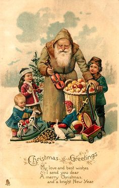 olive coated Santa holding small violin, with many toys & three children Vintage Christmas Images, Old Christmas, Christmas Scenes, Victorian Christmas, Retro Christmas, Vintage Holiday, Christmas Pictures, Christmas Greetings, Christmas Postcards