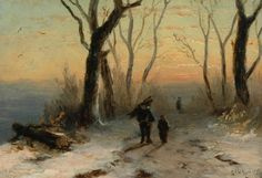 Lodewijk Franciscus Hendrik 'Louis' Apol (Den Haag 1850-1936) Figures on a wintry country lane at sunset - Dutch Art Gallery Simonis and Buunk Ede, Netherlands.