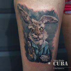 Alice In Wonderland Tattoo Sleeve, Alice In Wonderland Rabbit, Fake Tattoos, Tattoos For Guys, Tatoos, Home Tattoo, I Tattoo, Tattoo Designs, Alice Madness