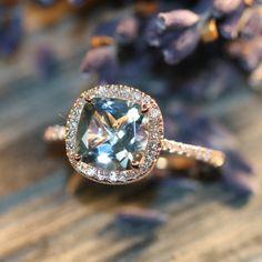 Halo Diamond Aquamarine Engagement Ring in 14k Rose Gold Pave Diamond Wedding Band 8x8mm Cushion Cut Aqua Gem Ring (Wedding Set Available)