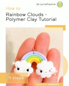 Rainbow Clouds - Polymer Clay Tutorial in 9 steps Easy Polymer Clay, Fimo Clay, Polymer Clay Charms, Polymer Clay Projects, Polymer Clay Jewelry, Polymer Clay Magnet, Clay Magnets, Polymer Clay Figures, Polymer Clay Miniatures