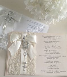 Items similar to Vintage Lace Rosary Beads Couture Invitation - Baptism/Christening or Communion - Blush Pink - Girl or Boy on Etsy First Communion Cards, Baptism Cards, Baptism Invitations Girl, First Communion Invitations, Vintage Baptism, Vintage Lace, Blush Rosa, Blush Pink, Baby Girl Baptism