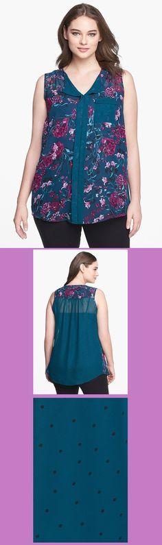 Nordstrom Rack - Evans. Mix Print Sleeveless Blouse (Plus Size).