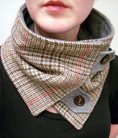 Neck Warmer Scarf in Upcycled Brown, Red-Orange, Tan and Gray Plaid with Brown and Gold Buttons