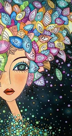 Illustration Art par Romi Lerda Could be done with Quilling Doodle Art, Arte Popular, Art And Illustration, Whimsical Art, Art Plastique, Face Art, Painting Inspiration, Painted Rocks, Art Drawings