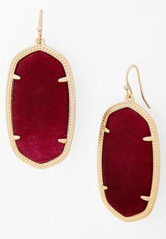maroon jade oval statement earrings