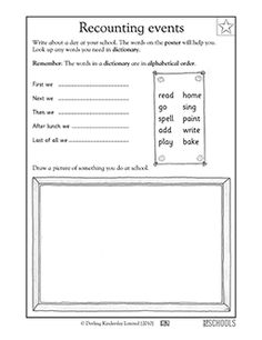 What did you do today? In this language arts worksheet, your child gets practice looking up words in a dictionary, writing words in alphabetical order, and drawing.
