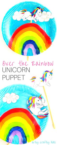 Arty Crafty Kid | Craft | Over the Rainbow Paper Plate Unicorn Puppets | Using the free Unicorn download, cut and colour to create playful puppets, who love to jump, slide and dance over the cute paper plate rainbow! A fun interactive craft and play craft