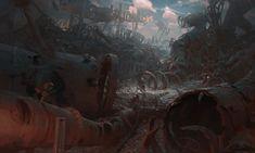 Scrapyard by Jiri Horacek (xpost r/ImaginarySteampunk) Character Concept, Concept Art, Character Design, Sci Fi Fantasy, Fantasy World, Bg Design, Photo Games, Modern Victorian, Art Station
