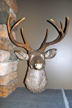 Deer Head Wall Mount - Metallic Caramel with Natural Brown Antlers - Deer Head Antlers Faux Taxidermy, $93.99 Stag Head, Faux Taxidermy, Animal Heads, Natural Brown, Antlers, Decoration, Artsy Fartsy, Deer, Unique Gifts