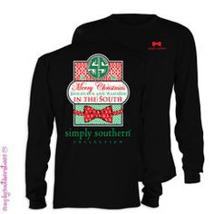 Simply Southern Merry Christmas in the South Bow Girlie Bright Long Sl | SimplyCuteTees