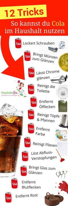Cola ist ein beliebtes Softgetränk zur Erfrischung bei Jung und Alt. Vor 120 Jahren entwickelte Cola ein Pharmazeut, der eigentlich ein Getränk gegen Kopfschmerzen suchte. Dieses kohlensäure- und koffeinhaltige Erfrischungsgetränk schmeckt nicht nur lecker. Cola lässt sich auch prima für den Haushalt zweckentfremden. Dafür ist hauptsächlich die enthaltene Phosphorsäure verantwortlich. Du musst jetzt nicht literweise …