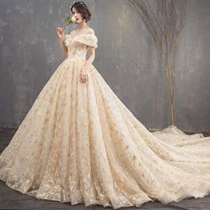 Gorgeous Champagne Wedding Dresses 2018 Ball Gown Lace Scoop Neck Backless Short Sleeve Royal Train Wedding is part of Wedding dress champagne - Western Wedding Dresses, Luxury Wedding Dress, Classic Wedding Dress, Backless Wedding, Modest Wedding Dresses, Designer Wedding Dresses, Lace Wedding, Mermaid Wedding, Champagne Wedding
