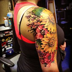 Sunflower tattoo and poppy tattoo half sleeve