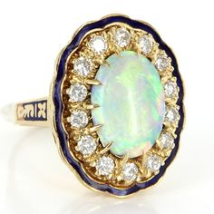 Vintage 14 Karat Yellow Gold Natural Opal Diamond Enamel Large Cocktail Ring