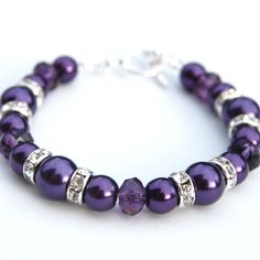 Fall Wedding Jewelry Dark Purple Pearl Crystal and by AMIdesigns, $24.00