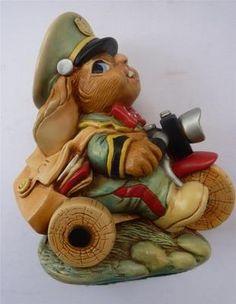 RARE Vintage Pendelfin Rabbit: Postman / Delivery Man on Bike
