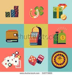 Cool vector flat design web icons on casino and gambling items with slot machine, roulette wheel, playing cards and more. Ideal for gambling and entertainment infographics - stock vector