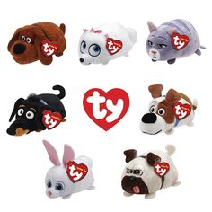 "Set of 4 TY Beanie Boos 4/"" Teeny Tys LEXI THEO WHIZ CASSIE Stackable Plush MWMTs"