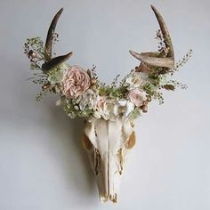 Deer skull mount with floral