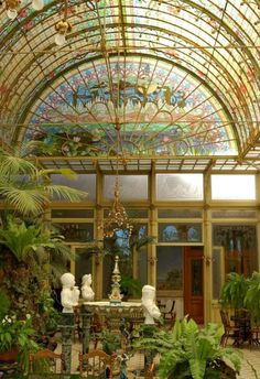 Beautiful Art Nouveau conservatory ~ Ursuline convent, near Antwerp in Onze-Lieve-Vrouw-Waver, Belgium. The stylish Art Nouveau hall for parties was used as a setting in various films. Art Nouveau Architektur, Art Nouveau Arquitectura, Architecture Art Nouveau, Architecture Design, Garden Architecture, Building Architecture, Arte Art Deco, Design Art Nouveau, Art Nouveau Interior