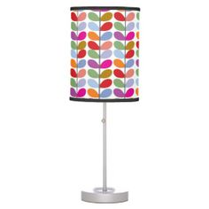 Abstract Girly Pink Cute Leaves Pattern Table Lamps