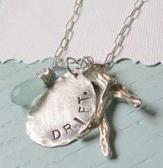 Drift: artisan handstamped sterling silver necklace