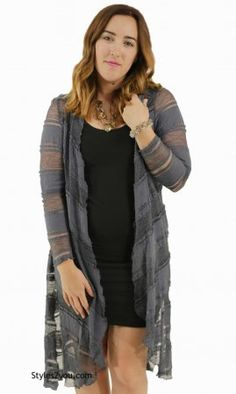 90b8c5a1a77d88 Robin Ladies Bohemian Open Lace Duster In Charcoal Gray Lace Pants, Lace  Cardigan, Lace